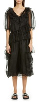 Simone Rocha Asymmetrical Ruffle Silk Organza Midi Dress