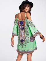 Shein Tribal Print Kimono Sleeve Dress
