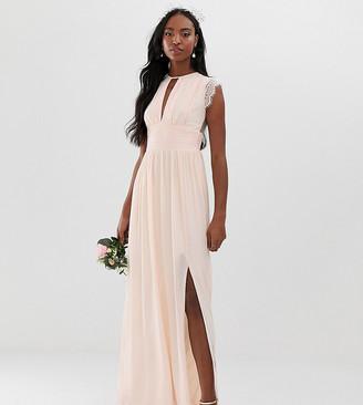TFNC Tall Tall lace detail maxi bridesmaid dress in pearl pink
