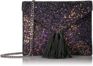 The Fix Izzi Glitter Envelope Clutch with Chain Crossbody Strap