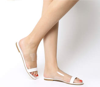 Office Sandy Two Part Sandals White Leather Transparent