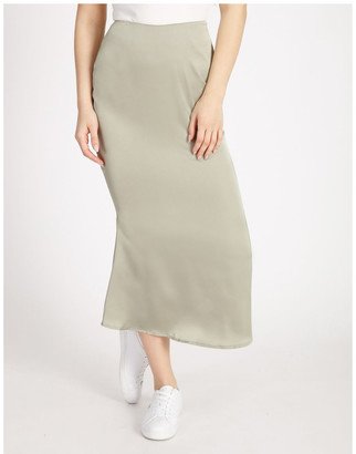 Missguided A Line Satin Slip Midi Skirt