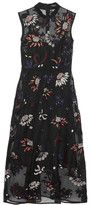 Markus Lupfer Embroidered Embellished Silk-organza Dress - Black