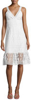 Diane von Furstenberg Tiana Sleeveless Lace Flounce Dress, White