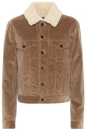 Saint Laurent Shearling-trimmed corduroy jacket