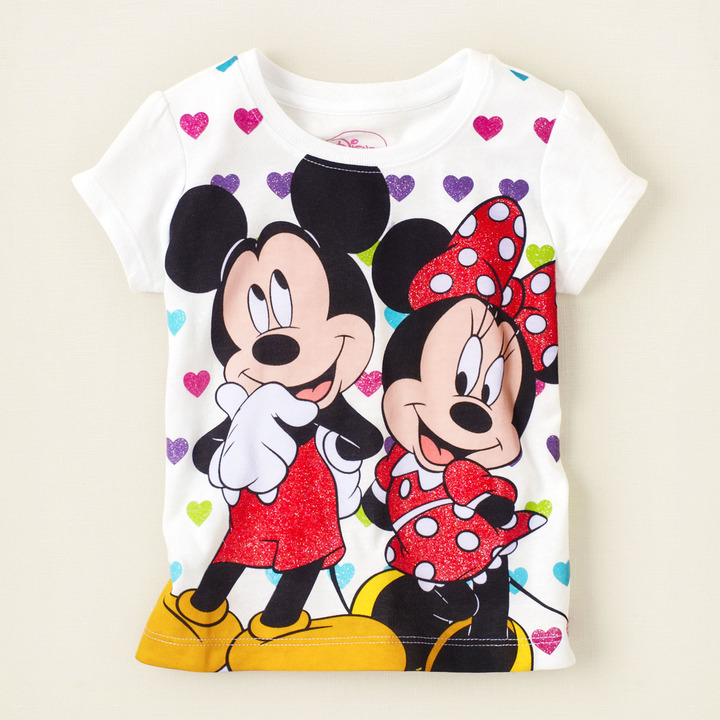 Children's Place Minnie Mickey hearts graphic tee