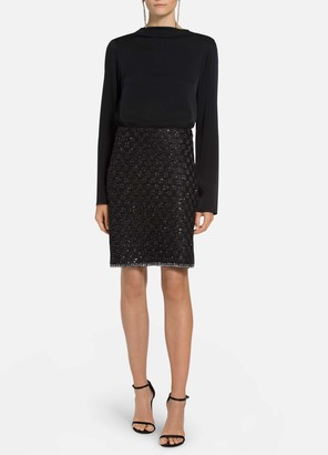St. John Sequined Couture Basketweave Skirt