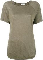 Frame curved hem T-shirt - women - Linen/Flax - M