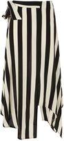 Topshop PETITE Stripe Hanky Hem Midi Skirt