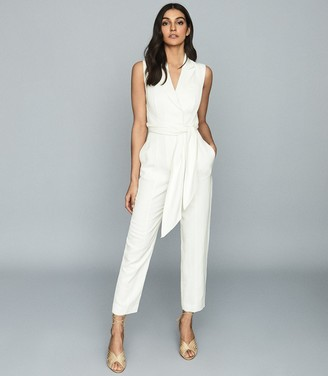 Reiss ROMY WRAP-TIE TAILORED JUMPSUIT White
