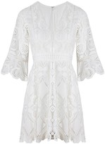 Alexis Webb Short Embroidered Dress in white