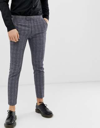 Farah Smart Aldfield skinny fit cropped trousers in blue