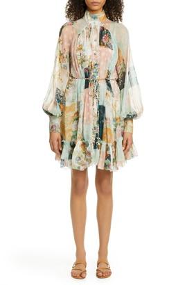 Zimmermann Wavelength Mixed Print Long Sleeve Silk Minidress