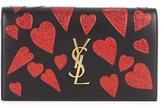 Saint Laurent Kate glitter-hearts leather clutch