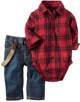 Carter's Baby Boy Red Plaid Flannel Bodysuit & Suspender Jeans Set