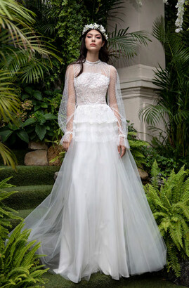Cristallini High Neck Long Sleeve A-Line Gown