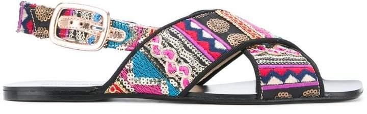 Anna Baiguera printed cross strap sandals