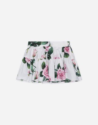 Dolce & Gabbana Poplin Skirt With Tropical Rose Print