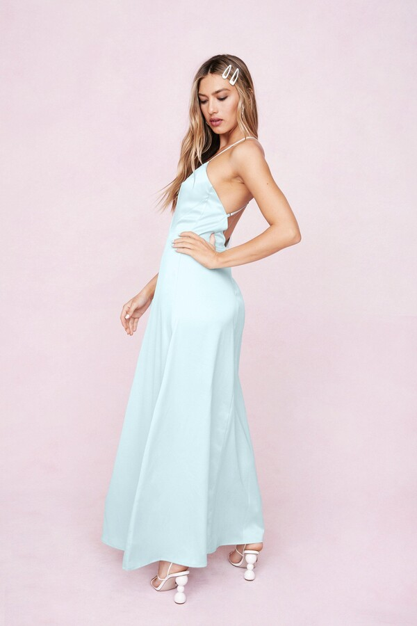 Thumbnail for your product : Nasty Gal Womens Strappy Satin Slit Maxi Dress - Green - 4