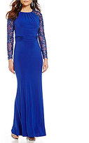 Marina Round Neck Long Sleeve Empire Waist Sequined Gown