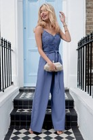 Little Mistress Tamsin Blue Crochet Jumpsuit