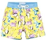 Thomas Royall Yellow Jamaica Bird Print Swim Trunks