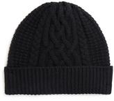 Johnstons of Elgin Black Cashmere Aran Cable Hat