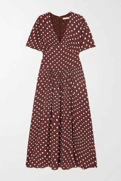 ALEXACHUNG Gathered Polka-dot Crepe Midi Dress - Brown