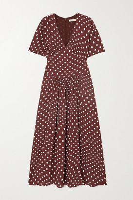 ALEXACHUNG Gathered Polka-dot Crepe Midi Dress - Brown