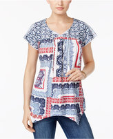 Style&Co. Style & Co Patchwork-Print Tie-Neck Top, Created for Macy's