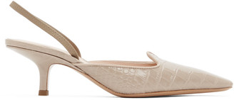 Brock Collection Taupe Croc Slingback Heels