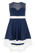 Quiz Curve Navy And Cream Mesh Dip Hem Dress