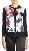 St. John Wool & Cashmere Floral Cardigan
