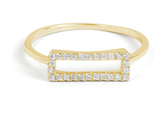 MINED 14k Gold & Diamond Open Rectangle Ring, Assorted Colors