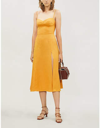Reformation Nebraska A-line linen midi dress
