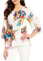 Investments Georgette Pleated Popover Floral Blouse