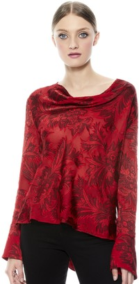 Alice + Olivia Anna Drapey Cold Shoulder Shirt