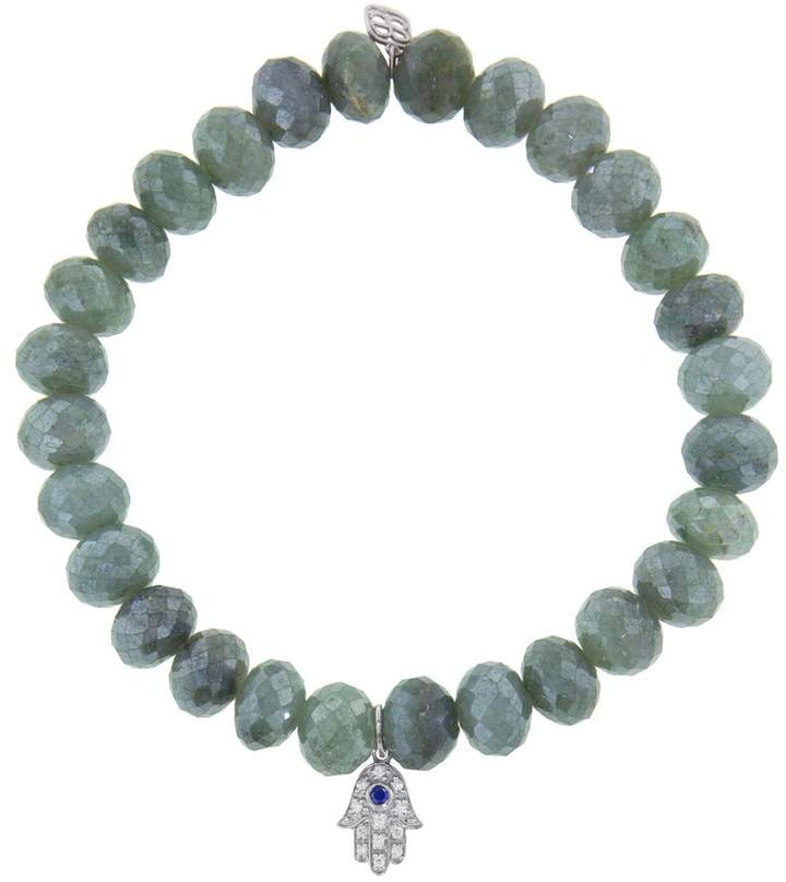 Sydney Evan Sapphire Baby Hamsa Charm On Blue Silverite Beaded Bracelet