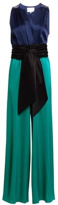 Carolina Ritzler Sleeveless Tie-Waist Satin Jumpsuit