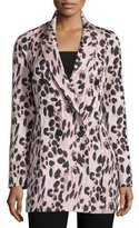 J. Mendel Double-Breasted Feline-Print Coat, Kitten Pink/Noir