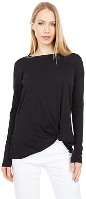 bobi Los Angeles Lightweight Jersey Long Sleeve Tuck T-Shirt (Black) Women's Clothing