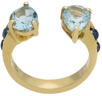 Dubini Theodora Aquamarine Double Tear 18kt gold ring
