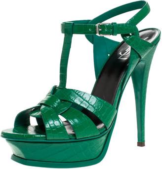 Saint Laurent Paris Green Croc Embossed Leather Tribute Platform Ankle Strap Sandals Size 40