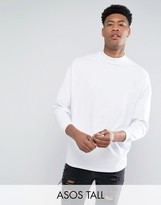 Asos TALL Oversized T-Shirt With High Neck And Cropped Arm In White
