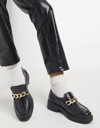 ASOS DESIGN Maple chunky chain loafers in black croc