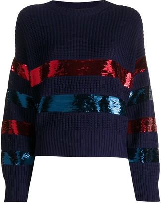 Philosophy di Lorenzo Serafini Sequin Stripe Chunky Knit Cotton Jumper