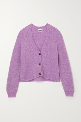 Ganni Ribbed-knit Cardigan - Lilac
