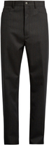 Lanvin Mid-rise wide-leg herringbone wool trousers