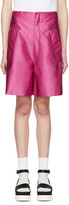 Miu Miu Fuschia Satin Drop Waist Shorts