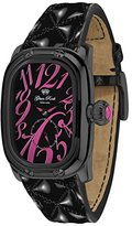 Glam Rock Women's GR72304 Monogram Black Dial Black Quilted Patent Leather Watch